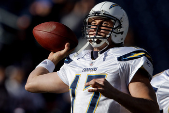 DENVER, CO - JANUARY 2:  Quarterback Philip Rivers #17 of the San Diego Chargers warms up before a game against the Denver Broncos at INVESCO Field at Mile High on January 2, 2011 in Denver, Colorado. (Photo by Justin Edmonds/Getty Images)