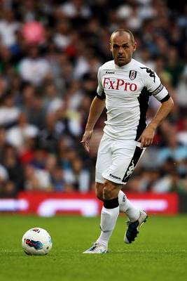 LONDON, ENGLAND - JUNE 30:  Danny Murphy of Fulham in action during the UEFA Europa League qualifying match between Fulham and NSI Runavik at Craven Cottage on June 30, 2011 in London, England.  (Photo by Warren Little/Getty Images)