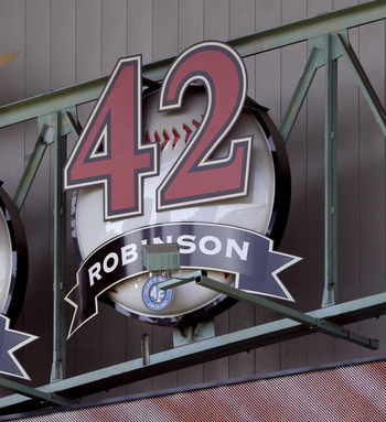 HOUSTON - APRIL 15:  Jackie Robinson's #42 number is retired in the rafters with other former Houston Astros Mike Scott #33 and Nolan Ryan #24 at Minute Maid Park on April 15, 2011 in Houston, Texas.  (Photo by Bob Levey/Getty Images)