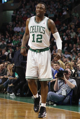 BOSTON, MA - MARCH 04:  Von Wafer #12 of the Boston Celtics limps off the court in the first half against the Golden State Warriors on March 4, 2011 at the TD Garden in Boston, Massachusetts.  NOTE TO USER: User expressly acknowledges and agrees that, by