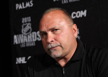 LAS VEGAS, NV - JUNE 21:  Head coach Barry Trotz of the Nashville Predators addresses the media at the 2011 NHL Awards nominee media availability at the Palms Casino Resort on June 21, 2011 in Las Vegas, Nevada.  (Photo by Bruce Bennett/Getty Images)
