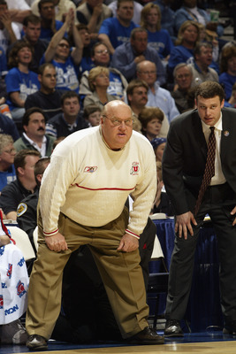 NASHVILLE, TN - MARCH 23:  Head coach Rick Majerus of Utah looks on from the sideline during second round game of the NCAA Tournament against Kentucky on March 23, 2003 at the Gaylord Entertainment Center in Nashville, Tennessee. Kentucky defeated Utah 74