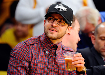LOS ANGELES, CA - MAY 02:  Actor/singer Justin Timberlake sits courtside during Game One of the Western Conference Semifinals in the 2011 NBA Playoffs between the Los Angeles Lakers and the Dallas Mavericks at Staples Center on May 2, 2011 in Los Angeles,