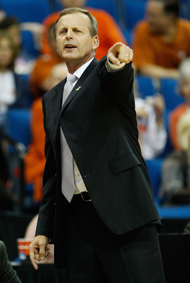 TULSA, OK - MARCH 18:  Head coach Rick Barnes of the Texas Longhorns signals to his team during the second round game against the Oakland Golden Grizzlies in the 2011 NCAA men's basketball tournament at BOK Center on March 18, 2011 in Tulsa, Oklahoma.  (P