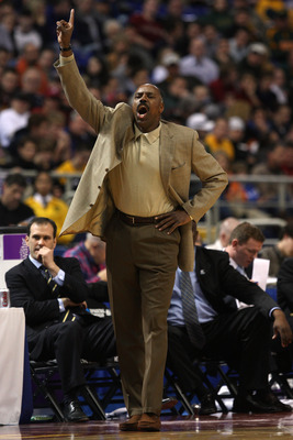 MINNEAPOLIS - MARCH 20:  Head coach Al Skinner of the Boston College Eagles coaches against the USC Trojans during the first round of the NCAA Division I Men's Basketball Tournament at the Hubert H. Humphrey Metrodome on March 20, 2009 in Minneapolis, Min