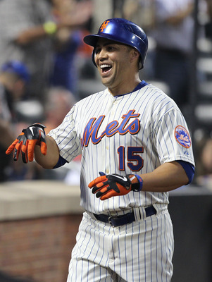 NEW YORK, NY - JUNE 18:  Carlos Beltran #15 of the New York Mets celebrates a two run home run with teamates in the fifth inning against the Los Angeles Angels of Anaheim during their game on June 18, 2011 at Citi Field in the Flushing neighborhood of the