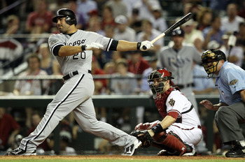 PHOENIX, AZ - JULY 12:  American League All-Star Carlos Quentin #20 of the Chicago White Sox swings during an at bat in the 82nd MLB All-Star Game at Chase Field on July 12, 2011 in Phoenix, Arizona.  (Photo by Christian Petersen/Getty Images)