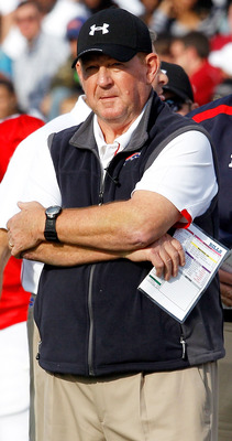 MOBILE, AL - JANUARY 29: Head Coach Chan Gailey of the South Team looks on as his team took on the North Team during the second quarter of the Under Armour Senior Bowl January 29, 2011 at Ladd Peebles Stadium in Mobile, Alabama.  (Photo by Sean Gardner/Ge