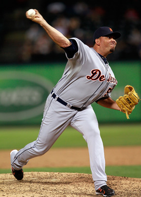 ARLINGTON, TX - JUNE 06:  Joaquin Benoit #53 of the Detroit Tigers pitches against the Texas Rangers at Rangers Ballpark in Arlington on June 6, 2011 in Arlington, Texas. The Tigers beat the Rangers 13-7.  (Photo by Tom Pennington/Getty Images)