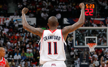 ATLANTA, GA - MAY 06:  Jamal Crawford #11 of the Atlanta Hawks against the Chicago Bulls in Game Three of the Eastern Conference Semifinals in the 2011 NBA Playoffs at Phillips Arena on May 6, 2011 in Atlanta, Georgia.  NOTE TO USER: User expressly acknow
