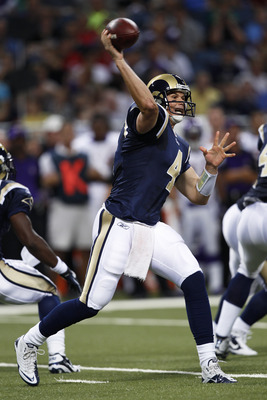 ST. LOUIS, MO - AUGUST 14: A.J. Feeley #4 of the St. Louis Rams passes the ball against the Minnesota Vikings during the preseason game at Edward Jones Dome on August 14, 2010 in St. Louis, Missouri. (Photo by Joe Robbins/Getty Images)