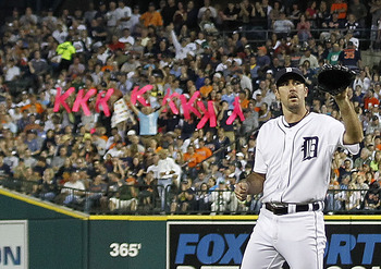 DETROIT - JUNE 25:  Justin Verlander #35 of the Detroit Tigers strikes out 14 for a career-high during the game against the Arizona Diamondbacks at  Comerica Park on June 25, 2011 in Detroit, Michigan. The Tigers defeated the Diamondbacks 6-0.  (Photo by