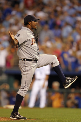 KANSAS CITY, MO - JULY 08:  Closing pitcher Jose Valverde #46 of the Detroit Tigers reacts after the final out of the game against the Kansas City Royals on July 8, 2011 at Kauffman Stadium in Kansas City, Missouri.  The Tigers defeated the Royals with a