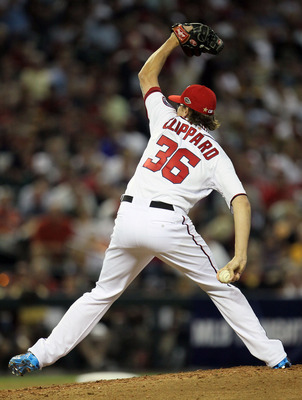 Tyler Clippard throws a pitch—in an unusual way—during the 2011 MLB All-Star game.