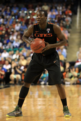 GREENSBORO, NC - MARCH 11:  Durand Scott #1 of the Miami Hurricanes looks to pass during the first half against the North Carolina Tar Heels  in the quarterfinals of the 2011 ACC men's basketball tournament at the Greensboro Coliseum on March 11, 2011 in