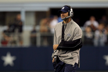 ARLINGTON, TX - OCTOBER 31:  Injured quarterback Tony Romo of the Dallas Cowboys looks on against the Jacksonville Jaguars at Cowboys Stadium on October 31, 2010 in Arlington, Texas.  (Photo by Stephen Dunn/Getty Images)