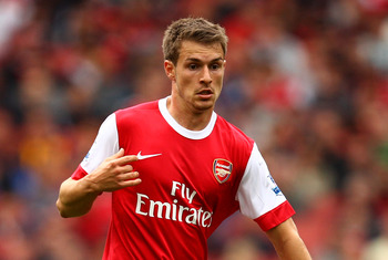 LONDON, ENGLAND - MAY 15:  Aaron Ramsey of Arsenal in action during the Barclays Premier League match between Arsenal and Aston Villa at the Emirates Stadium on May 15, 2011 in London, England.  (Photo by Richard Heathcote/Getty Images)