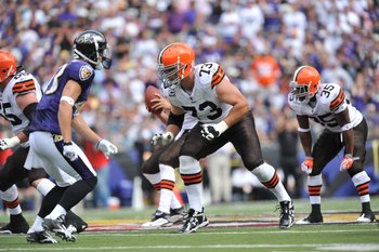 BALTIMORE - SEPTEMBER 27:  Joe Thomas #73 of the Cleveland Browns defends against the Baltimore Ravens at M&amp;T Bank Stadium on September 27, 2009 in Baltimore, Maryland. The Ravens defeated the Browns 34-3. (Photo by Larry French/Getty Images)
