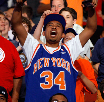 NEWARK, NJ - JUNE 23:  A fan of the New York Knicks supports his team during the 2011 NBA Draft at the Prudential Center on June 23, 2011 in Newark, New Jersey.  NOTE TO USER: User expressly acknowledges and agrees that, by downloading and/or using this P