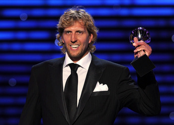 LOS ANGELES, CA - JULY 13: NBA Player Dirk Nowitzki accepts the award for Best Male Athlete  onstage at The 2011 ESPY Awards at Nokia Theatre L.A. Live on July 13, 2011 in Los Angeles, California.  (Photo by Kevin Winter/Getty Images)