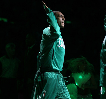 BOSTON, MA - MAY 09: Rajon Rondo #9 of the Boston Celtics walks out as he is annouced in the starting line up before Game Four of the Eastern Conference Semifinals in the 2011 NBA Playoffs on May 9, 2011 at the TD Garden in Boston, Massachusetts.  NOTE TO