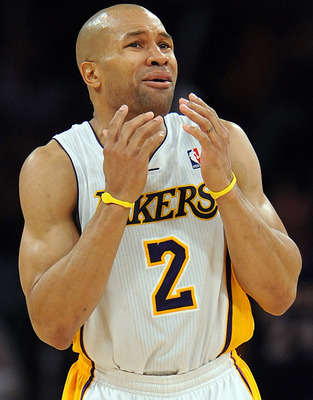 Derek Fisher shows a familiar look for players who cannot believe they were just called for a foul