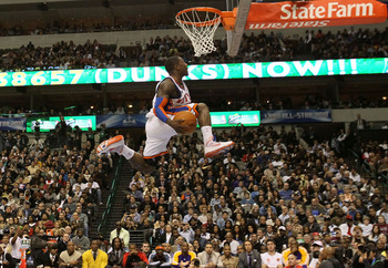 DALLAS - FEBRUARY 13:  Nate Robinson #2 of the New York Knicks attempts a dunk during the Sprite Slam Dunk Contest on All-Star Saturday Night, part of 2010 NBA All-Star Weekend at American Airlines Center on February 13, 2010 in Dallas, Texas. NOTE TO USE