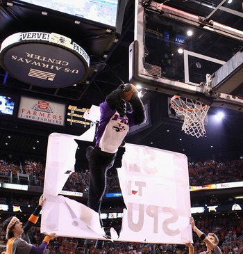 PHOENIX - MAY 05:  The Phoenix Suns mascot 'Gorilla' performs during Game Two of the Western Conference Semifinals of the 2010 NBA Playoffs against the San Antonio Spurs at US Airways Center on May 5, 2010 in Phoenix, Arizona. The team is wearing 'Los Sun