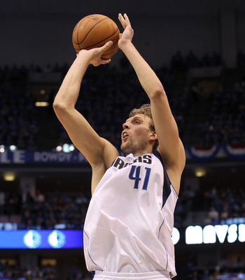 DALLAS, TX - MAY 17:  Dirk Nowitzki #41 of the Dallas Mavericks shoots a jumper while taking on the Oklahoma City Thunder in Game One of the Western Conference Finals during the 2011 NBA Playoffs at American Airlines Center on May 17, 2011 in Dallas, Texa