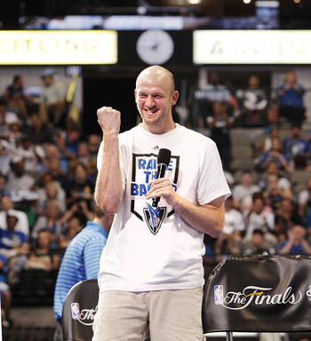 DALLAS, TX - JUNE 16: Forward Brian Cardinal of the Dallas Mavericks during the Dallas Mavericks Victory celebration on June 16, 2011 in Dallas, Texas. (Photo by Brandon Wade/Getty Images)