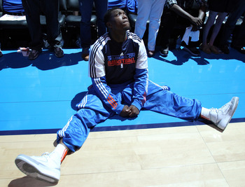 OKLAHOMA CITY, OK - MAY 21:  Nate Robinson #3 of the Oklahoma City Thunder looks on from the court before the game against the Dallas Mavericks in Game Three of the Western Conference Finals during the 2011 NBA Playoffs at Oklahoma City Arena on May 21, 2