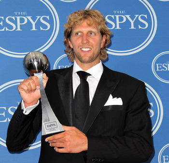 LOS ANGELES, CA - JULY 13:  NBA player Dirk Nowitzki  poses in the press room with award for Best Team at The 2011 ESPY Awards at Nokia Theatre L.A. Live on July 13, 2011 in Los Angeles, California.  (Photo by Frederick M. Brown/Getty Images)