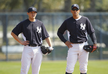 Yankees prospect Brandon Laird (left) with Alex Rodriguez (right)