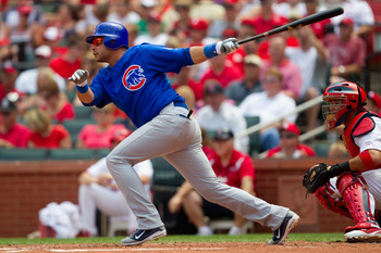 ST. LOUIS, MO - JUNE 5: Aramis Ramirez #16 of the Chicago Cubs hits a two-RBI double against the St. Louis Cardinals at Busch Stadium on June 5, 2011 in St. Louis, Missouri.  The Cardinals beat the Cubs 3-2 in 10 innings.  (Photo by Dilip Vishwanat/Getty
