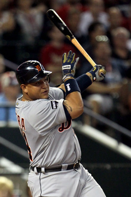 PHOENIX, AZ - JULY 12:  American League All-Star Miguel Cabrera #24 of the Detroit Tigers swings during an at bat in the 82nd MLB All-Star Game at Chase Field on July 12, 2011 in Phoenix, Arizona.  (Photo by Jeff Gross/Getty Images)