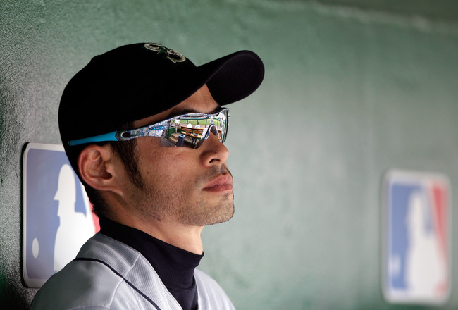WASHINGTON, DC - JUNE 23: Ichiro Suzuki #51 of the Seattle Mariners looks on from the dugout during the fourth inning against the Washington Nationals  at Nationals Park on June 23, 2011 in Washington, DC.  (Photo by Rob Carr/Getty Images)