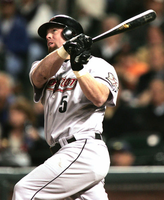 SAN FRANCISCO - SEPTEMBER 21:  Jeff Bagwell #5 of the Houston Astros hits a solo home run in the first inning against the San Francisco Giants at SBC Park on September 21, 2004 in San Francisco, California. (Photo by Jed Jacobsohn/Getty Images)