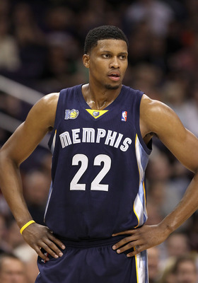 PHOENIX - DECEMBER 08:  Rudy Gay #22 of the Memphis Grizzlies during the NBA game against the Phoenix Suns  at US Airways Center on December 8, 2010 in Phoenix, Arizona. NOTE TO USER: User expressly acknowledges and agrees that, by downloading and or usin