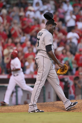 ANAHEIM, CA - JULY 09:  Pitcher Michael Pineda #36 of the Seattle Mariners looks on after giving up a two-run home run to Torii Hunter of the Los Angeles Angels of Anaheim in the fifth inning at Angel Stadium of Anaheim on July 9, 2011 in Anaheim, Califor