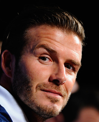 LOS ANGELES, CA - JULY 12:  Los Angeles Galaxy's David Beckham during a news conference to announce the Herbalife World Football Challange 2011 friendly soccer torunament between 13 european and US soccer clubs on July 12, 2011 in Los Angeles, California.