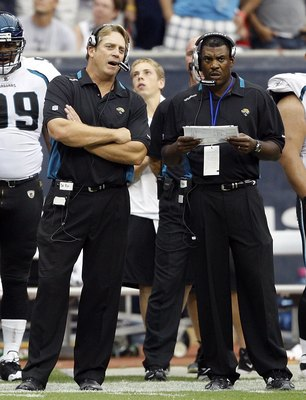 HOUSTON - SEPTEMBER 27:  Head coach Jack Del Rio, left, of the Jacksonville Jaguars talks with defensive coordinator Mel Tucker during the game against the Houston Texans at Reliant Stadium on September 27, 2009 in Houston, Texas.  (Photo by Bob Levey/Get