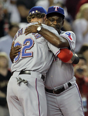 PHOENIX, AZ - JULY 12:  American League All-Star Josh Hamilton #32 of the Texas Rangers hugs American League All-Star manager Ron Washington #38 of the Texas Rangers before the start of the 82nd MLB All-Star Game at Chase Field on July 12, 2011 in Phoenix