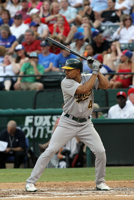 ARLINGTON, TX - JULY 09:  Coco Crisp #4 of the Oakland Athletics at Rangers Ballpark in Arlington on July 9, 2011 in Arlington, Texas.  (Photo by Ronald Martinez/Getty Images)