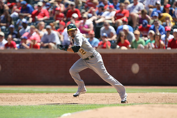 ARLINGTON, TX - JULY 10:  David DeJesus #12 of the Oakland Athletics at Rangers Ballpark in Arlington on July 10, 2011 in Arlington, Texas.  (Photo by Ronald Martinez/Getty Images)