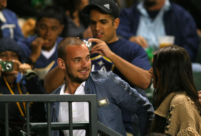 CARSON, CA - JUNE 03:  Dutch footballer Wesley Sneijder and wife Yolanthe Cabau attend the MLS match between D.C. United and the Los Angeles Galaxy at The Home Depot Center on June 3, 2011 in Carson, California. United and the Galaxy played to a 0-0 draw.