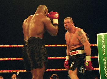 13 Oct 2001:  Mike Tyson of the USA on his way to defeating Brian Nielsen of Denmark during the World Heavyweight fight held at the Parken Stadion, in Copenhagen, Denmark. \ Mandatory Credit: John Gichigi /Allsport