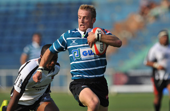 WITBANK, SOUTH AFRICA - OCTOBER 02: Sarel Pretorius of Griquas running hard during the ABSA Currie Cup match between Pumas and GWK Griquas at Puma Stadium on October 02, 2010 in Witbank, South Africa. (Photo by Duif du Toit / Gallo Images/Getty Images)