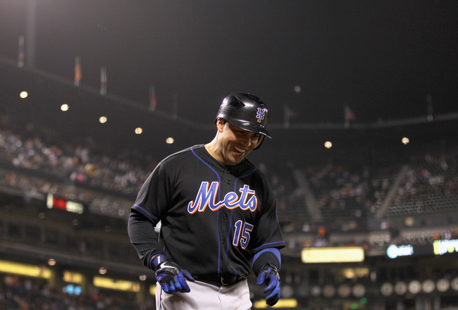 SAN FRANCISCO, CA - JULY 08:  Carlos Beltran #15 of the New York Mets smiles after he scored in the ninth inning of their game against the San Francisco Giants at AT&T Park on July 8, 2011 in San Francisco, California.  (Photo by Ezra Shaw/Getty Images)