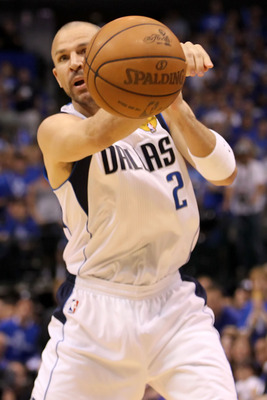 DALLAS, TX - JUNE 07:  Jason Kidd #2 of the Dallas Mavericks passes the ball against the Miami Heat in Game Four of the 2011 NBA Finals at American Airlines Center on June 7, 2011 in Dallas, Texas. NOTE TO USER: User expressly acknowledges and agrees that