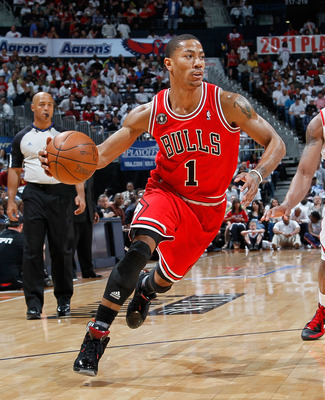 ATLANTA, GA - MAY 06:  Derrick Rose #1 of the Chicago Bulls against the Atlanta Hawks in Game Three of the Eastern Conference Semifinals in the 2011 NBA Playoffs at Phillips Arena on May 6, 2011 in Atlanta, Georgia.  NOTE TO USER: User expressly acknowled